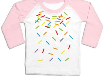 Rainbow Sprinkles long sleeve baby baseball t-shirt