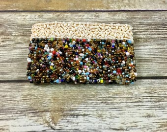 Hand Beaded Vintage Seed Bead Coin Purse | Novelty Change Purse | Retro Small Embellished Pouch