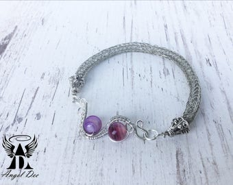 Purple agate viking knit bracelet