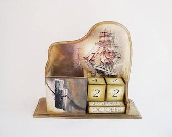Ship Perpetual Calendar, Desk Calendar,  Wooden calendar, Block Calendar, New home gift,  Landscape calendar, Ship with sails, Sea Calendar