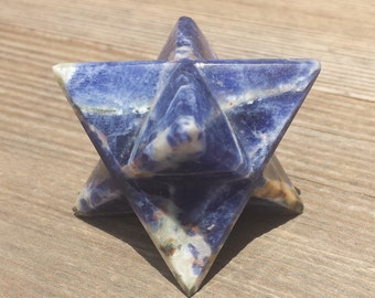 Large (50mm) SODALITE Natural Gemstone Merkaba Star (One)