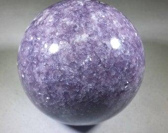 LARGE LEPIDOLITE SPHERE Natural Stone Hand Carved Gemstone Sphere [37]