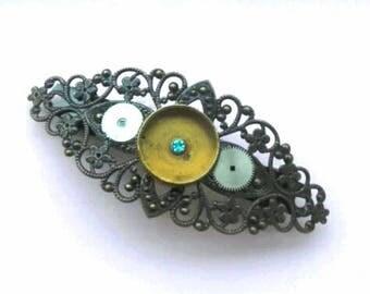 bronze steampunk gear COG lace mechanism hair clip