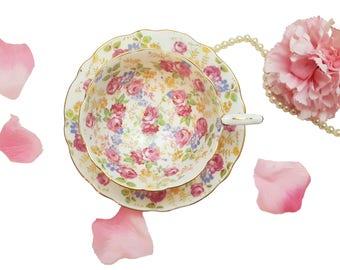 Royal Stafford Teacup June Roses, Pink Rose Chintz Tea Cup