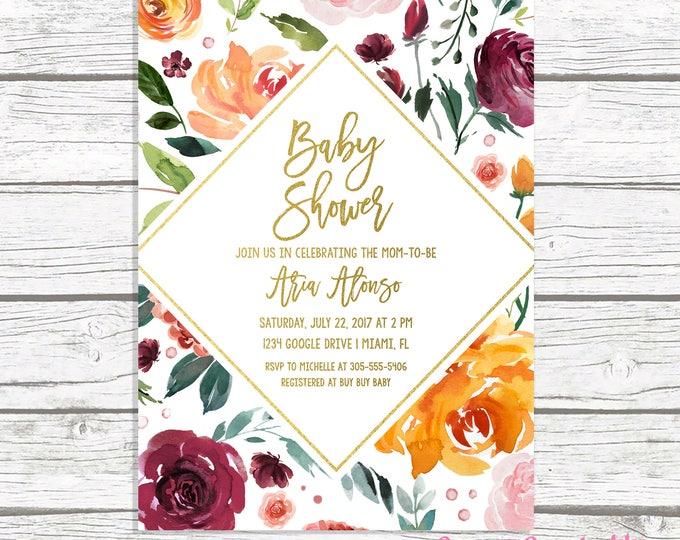 Fall Baby Shower Invitation, Gender Neutral Baby Shower Invitation, Rustic Baby Shower Invitation, Burgundy Marsala Baby Shower Invite