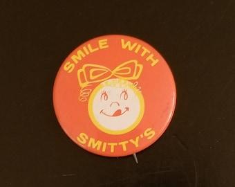 Vintage Smitty's Pancake House pinback, 1960's kitsch