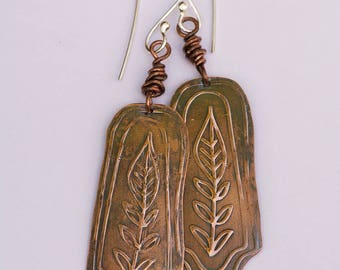 Leaf Earrings, Patterned Copper Patina Earrings, Dangle Drop Earrings, Hammered Copper Earrings, Boho Gypsy Earrings, Rustic Earrings,