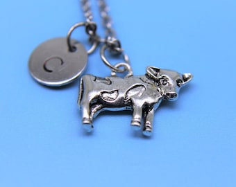 Cow  Necklace Silver Cow  Charm Necklace  Personalized Necklace Initial Charm Animal Charm Customized Jewelry