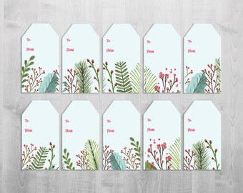 DIY Instant Download Printable Christmas Gift Tags ** Set of 10 ** Leaves