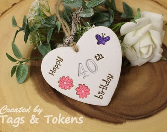A 40th Birthday gift hanging heart handmade from clay and hand painted. With flowers and a butterfly.  Alternative 40th Birthday Card.