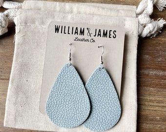 Seaside Drop Earrings, Leather earrings, Statement earrings
