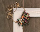 Imperial rainbow sea sediment jasper stone chunky bold colorful graduated teardrop round bead bar necklace gold dual link chain