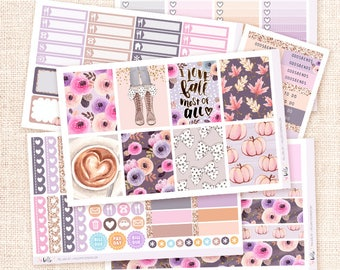 Fall Girl Sticker Kit / 6 sheets, matte or glossy planner stickers