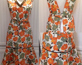 Women's full apron long pinny brown orange poppy print vintage ribbon linen feel vintage style ruffle apron dress