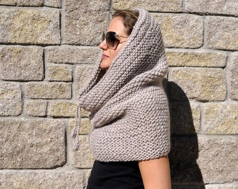 Chunky knit scarf oversized beige cowl | chunky hooded scarf cowl | snood | chunky infinity scarf | winter scarf | hooded cowl poncho