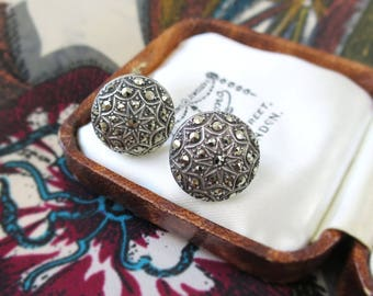 1930's Silver Art Deco Earrings - Domed Circular Star Design Silver Marcasite Earrings - Vintage Solid Silver Screw-back Earrings