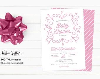 Pink Baby Shower Invitation - Modern Baby Shower Invitations - Digital Baby Shower Invitation - Printable Invitation - Girl Baby Shower