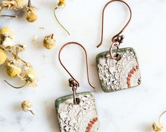 Square Vintage Lace Ceramic Earrings with Copper Accents