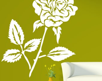 Large Wall Vinyl Decal Beautiful Flower Bud Rose Thorns Home Decor (2416dn)