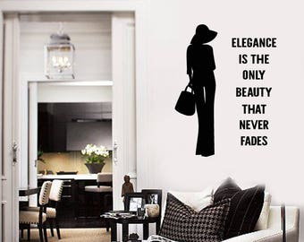 Fashion Woman Vinyl Wall Decal Quote Elegance Studio Salon Stickers Mural (#2619di)