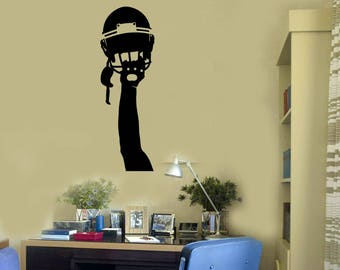 Football Player Hand Vinyl Wall Decal Helmet Teenage Room Sports Art Stickers Mural (#2662di)