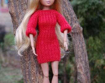 Modern dress for Moxie Teenz Knitting for dolls Clothes for dolls Moxie Teenz clothes doll clothes knit and doll knit doll clothes woolen