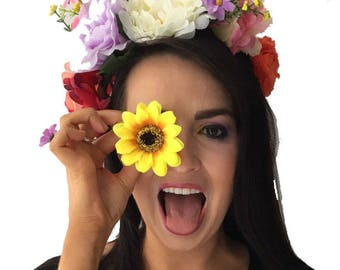 Floral Headband  - Floral crown - Festival Headpiece - Hair Accessories - Festival Style - Floral Head Wreath - Rustic Wedding Crown - Boho