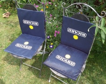 FREE SHIPPING, Ricard Bistro Chair Cushion, Tie On, Showerproof Easy Wipe Foldaway Seat Pads, Excellent Condition, Seat & Back Cushions