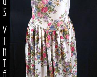"Plus Size UK 16 Vintage 1950s-style Tea Dress Floral  Roses Rockabilly Mad Men EU 44 US 12 Bust 42"" 107cm"