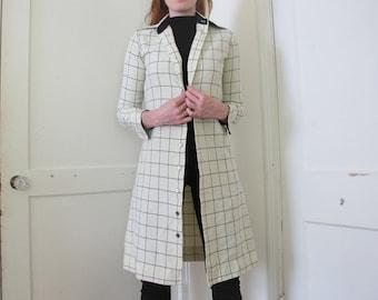 White Grid Print Jacket Dress