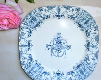 Antique 1800 French Gien plate / / french castle / / Renaissance/Greek fountain/transferware ironstone / / / ironstone/transferware / / french Art Nouveau