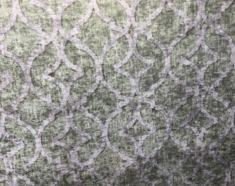 "P Kaufmann NURI Velvet Print Fabric 54"" Pistachio Soil and Stain Repellent by the yard"