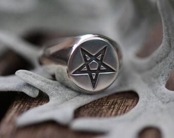 HEX, Pentagram Signet Ring, Pinky Ring