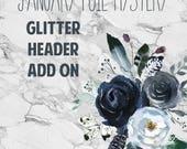 PRESALE January Mystery Glitter Header Add on, planner stickers
