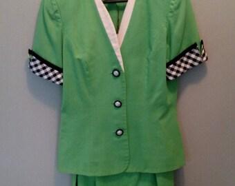 Vintage David Warren New York Suit/Ramie Linen Cotton/Apple Green/Black White