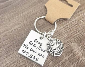 Fire fighter key chain / For Dad / Stay Safe Dad / Personalized kids initials / Custom key chain / Fireman keychain / Christmas gift for dad