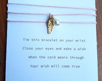 Make A Wish Bracelet with Angel Wing, Friendship Bracelet
