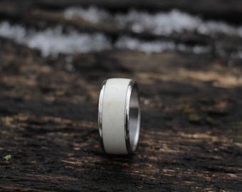 Deer Antler Wedding Ring - Titanium
