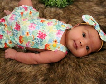 Cactus Southwestern Baby Romper, Knotted Hair Bow, Cake Smash, Toddler Romper, Baby Clothing, Newborn Romper, First Birthday