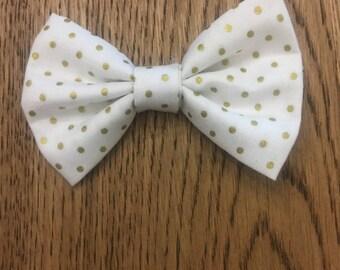 gold polka dot bow / baby headband / baby hair bow / infant headband / toddler bow clip / bow headband / newborn headband / gold bow tie