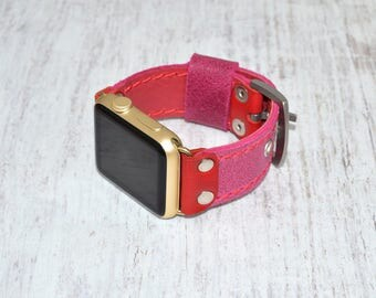 Apple watch band leather // Pink leather apple watch accessories 38mm / 42mm - apple watch strap leather - lugs adapter - iwatch band women