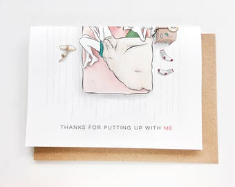 Thanks for putting up with me Card | Blanket Hog, I love you card, Anniversary Card, Valentine's, Funny love card, cute, carte anniversaire