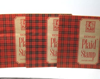 Vintage A & P Supermarkets Plaid Stamp Saver Books and Stamps- 1968