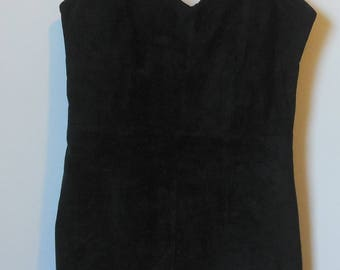 Vintage Brass Plum for Nordstrom Black Suede Mini Dress Size Medium