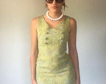 Vintage 60s Spring Green Paisley Dress