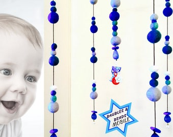 Blue Beaded Mobile, Cot Attachment, 35 tune Music Box, Fabulous Beaded Felt Ball Mobile, Cot Mobile, Nursery Decor, Baby Mobile