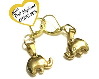 Gold Elephant Earrings, Good Luck Gifts, Elephant Charm Earrings, On Trend Gift, Lucky Earring Gift, Gold Drop Earrings, Free local Shipping