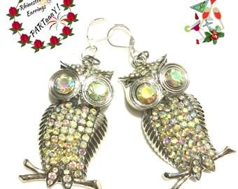 Rhinestone Owl Earrings,, Silver Rhinestone Earrings, On Trend Earrings,On Trend Gift, Pretty Rhinestone Earrings, Anytime Gift,Earrings OTT