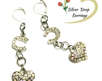 Rhinestone Heart and Horseshoe Earrings, Girlfriend Gift, Horse Lover Earrings, Sparkling Rhinestone Earrings, Valentine Gift