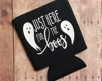 Just Here for the Boos Black & White Halloween Can Cooler - Funny Can Cooler - Gift - Can Hugger